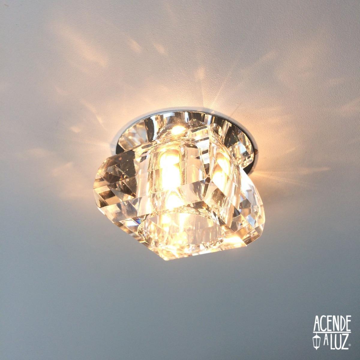 4 Luminaria Spot Cristal K9 Embutir G9 Banheiro Quarto Ac661 R