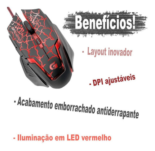 4 mauser gamer iluminado luz led usb raio mouse pc lan rause
