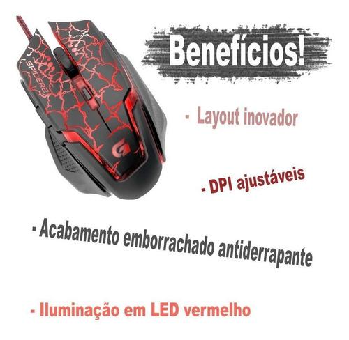 4 mauser profissional gamer luz led vermelho computador not