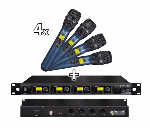 4 microfonos inalámbricos 12 cuotas uhf moon mi04ub profes