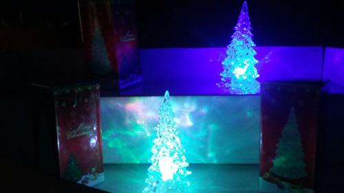 4 mini árbol con luz led rgb recuerdo, navidad, adorno