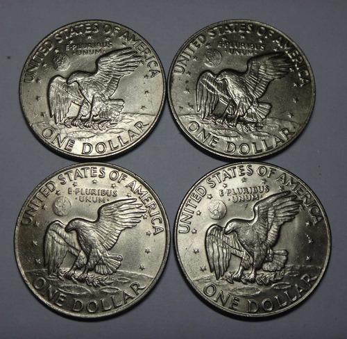 4 moedas de 1 dólar - 1972/74/77/78