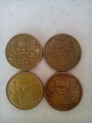 4 monedas de $100 carranza