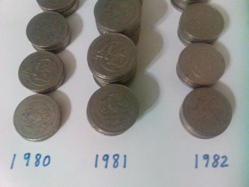 4 monedas de 20 pesos cultura maya 1980 1981 1982