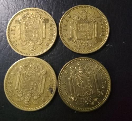 4 monedas españa 1 peseta francisco caudillo 1966 circuladas