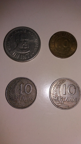 4 monedas peruanas antiguas de coleccion