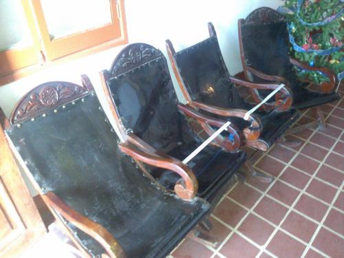 4 muebles caoba y suela poltrona y mecedora vargas