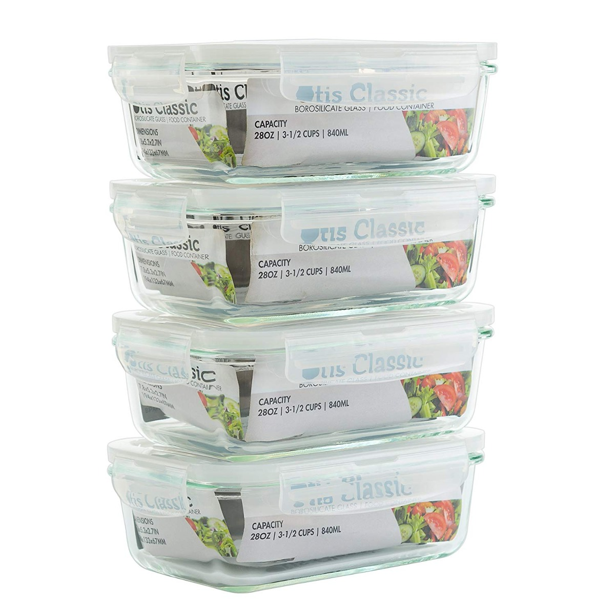 4 Pack 28oz Gl Food Storage Containers With Locking Lid