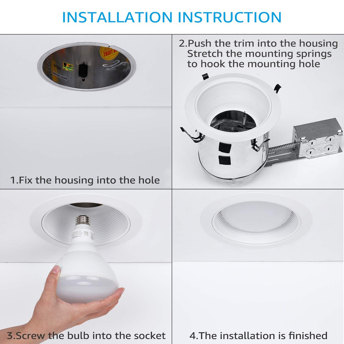 4 Pack 6 Inch Recessed Can Light Trim With White Metal Step 126 900 En Mercado Libre