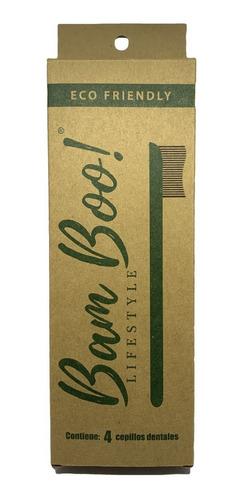4 pack cepillo dental biodegradable bamboo carbon activado