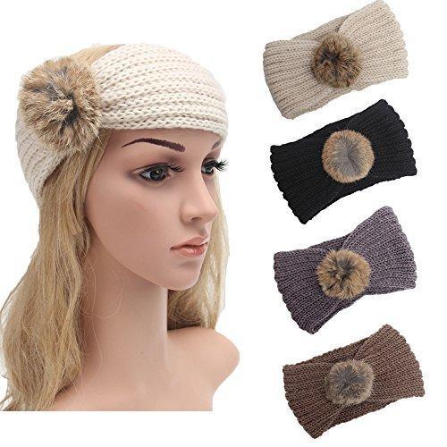 4 Pack Knit Headbands Winter Braided Headband Ear Warmer Cro ... e6568fedf30
