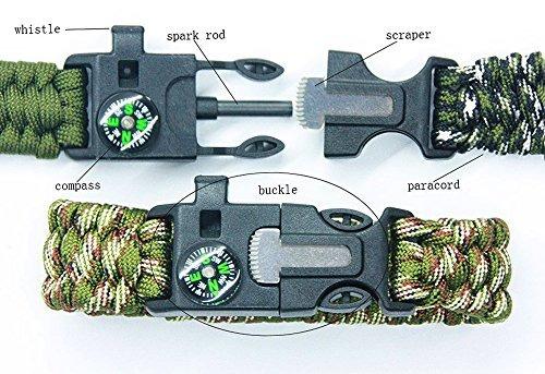 4 pack multifuncional paracord pulsera, ecvilla al aire lib