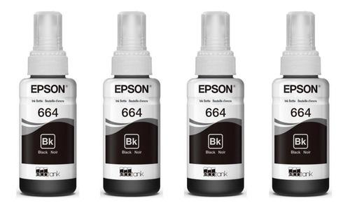 4 pack tinta epson t664 negra ecotank l310 l380 l395 l575