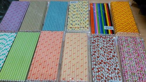 4 paquetes sorbetes de papel pajitas x 25 unidades