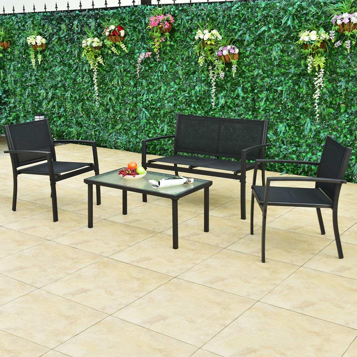4 Pc Muebles Conjunto Sofá Café Mesa Acero Marco Jardín - $ 902.990 ...