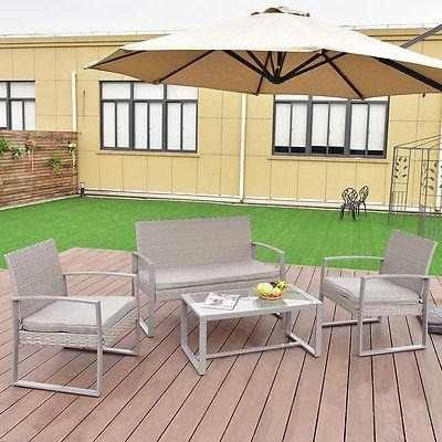4 Pc Patio Al Aire Libre Muebles Mimbre Set R - 311913939773 ...