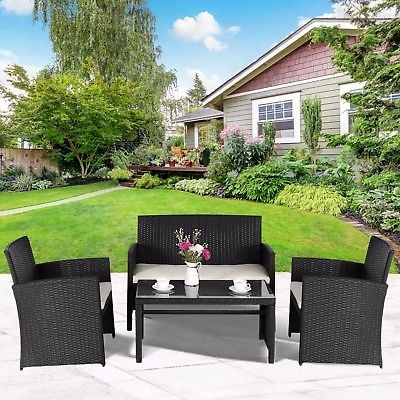 4 Pc Patio Muebles Mimbre Jardín Al Aire Libre Chat - $ 1.175.990 en ...