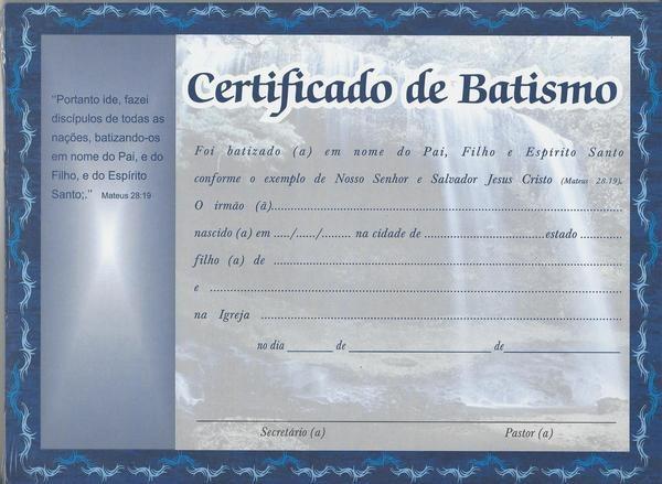 4 Pctes C 50 Unids Cada Certificado De Batismo Simples R 169 09