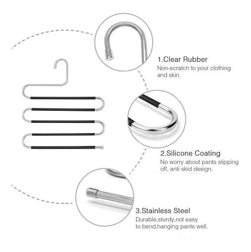 4 perchas multiusos de acero inoxidable para colgar pantalon