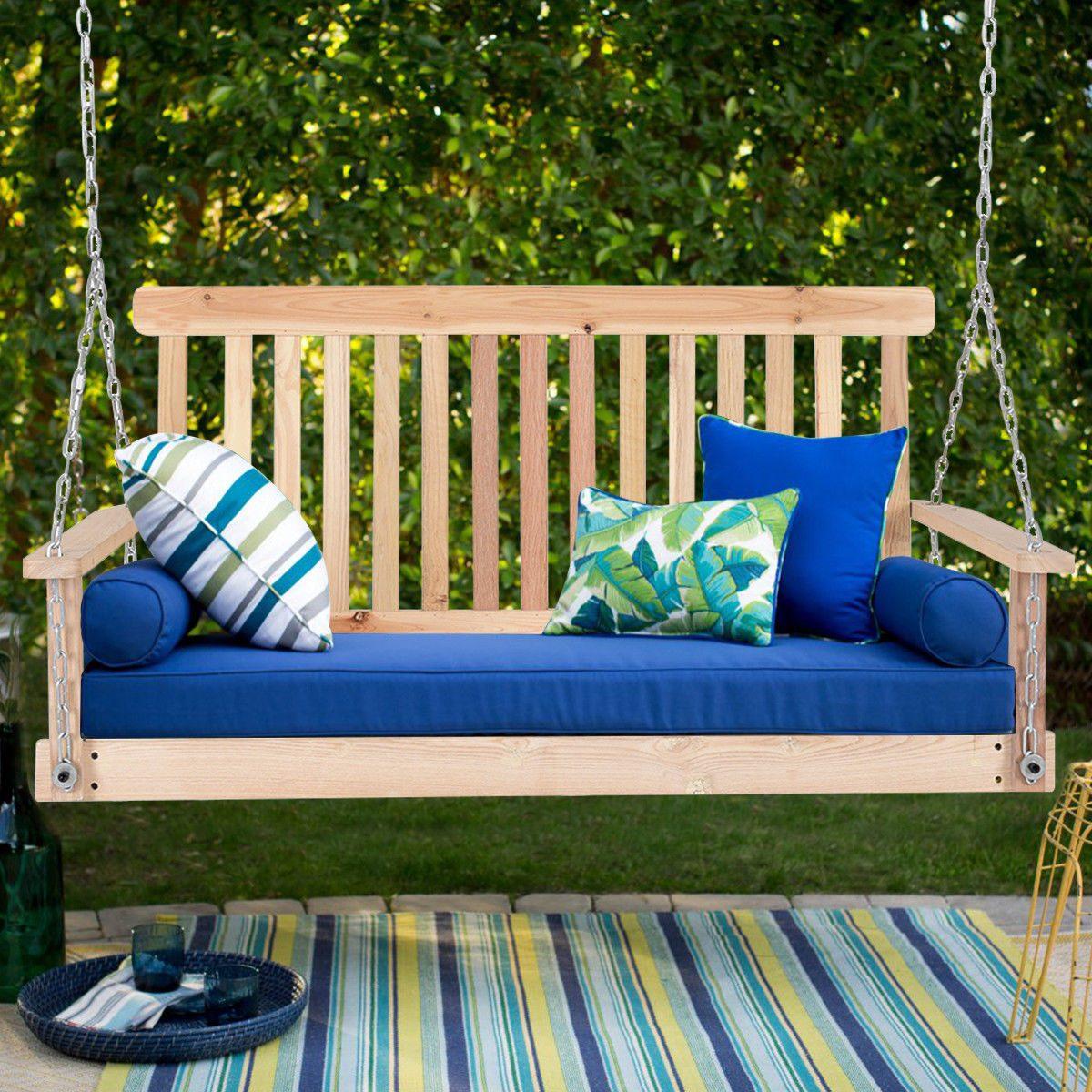 4 pies porche swing natural madera jard n columpio banco - Columpios de madera para jardin ...