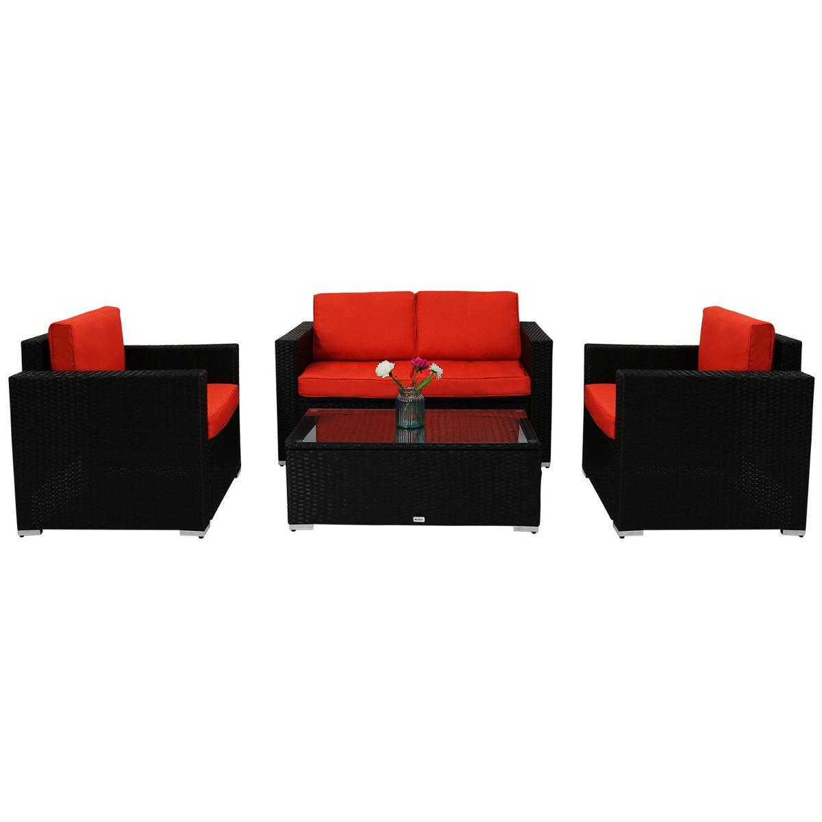 4 Piezas Acolchado Sofá Muebles Set Pe Exterior Jardín De La ...