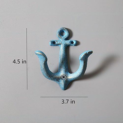 4 piezas hierro fundido ancla nautica  perchero de pared som