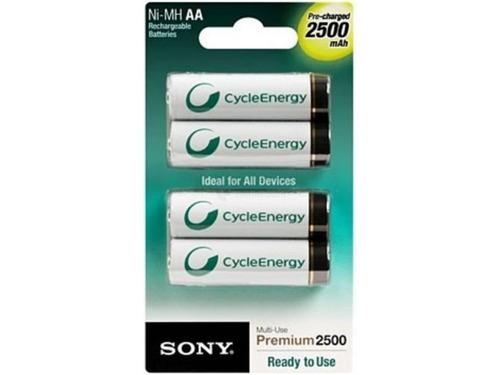 4 pilas aa sony 2500 mah cycle energy p/ camaras digitales