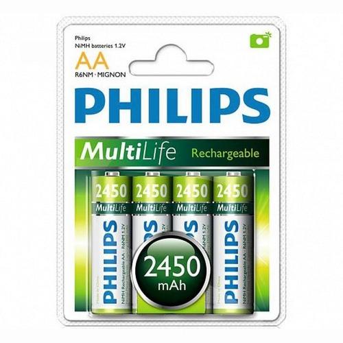 4 pilas recargables philips aa nimh 2450 mah. 1000 recargas