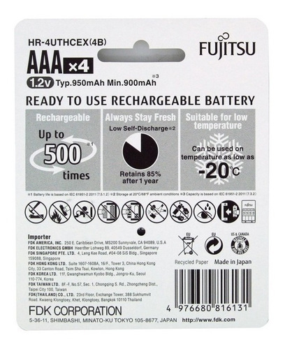 4 pilhas aaa palito recarregáveis 500x fujitsu 950mah