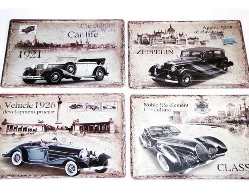 4 placa decorativa metal 30x20 carros antigos retrô vintage
