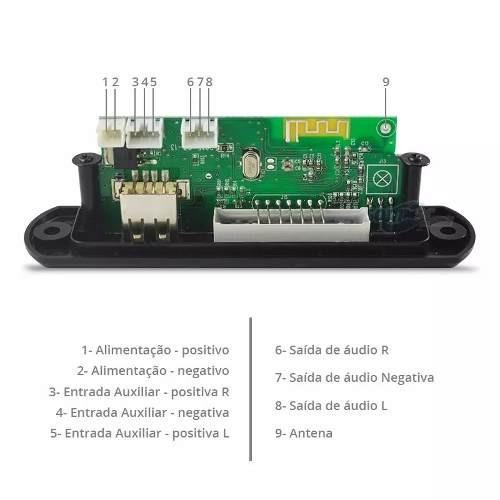 4 placa p/ amplificador - modulo mp3 bluetooth muda pasta