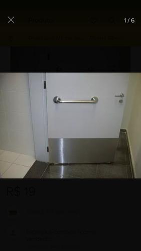 4 placas em aço inox para revestimento de portas 58x15cm 3m