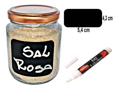 4 potes vidro 240ml tampa rose gold + 4 adesivos + 1 caneta