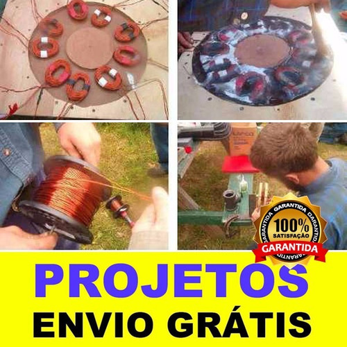 4 projetos gerador eólico 5.500w, 3.000w, 1.500w, 1.000w