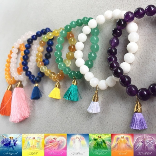 4 pulseras arcángeles ángeles cuarzos piedras amatista ágata