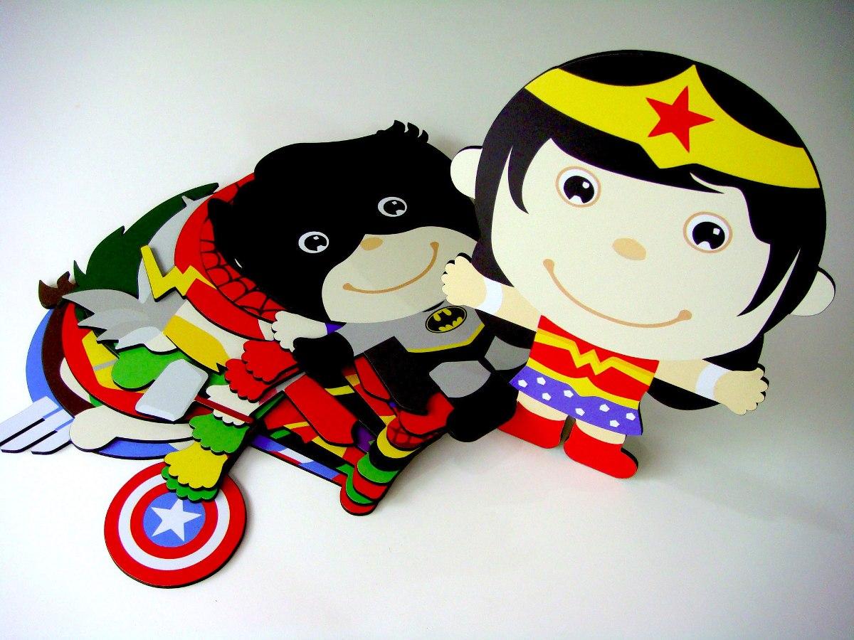4 Quadros 1 De Brinde Super Her Is Baby Cute Kawaii R 160 00  ~ Tecidos Para Parede De Quarto E Quarto Bebe Super Herois