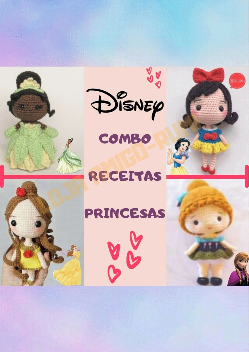 Receita Amigurumi 2 Princesas Lindas da Disney Em Português no ... | 1200x848