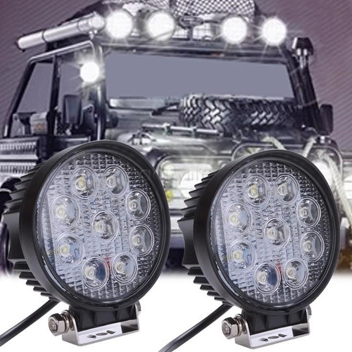 4 reflectores led 12v 24v 27w 2430lm p/ toyota ford jeep kia