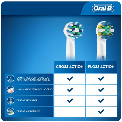 4 repuestos cabezal floss action cepillo electrico oral-b