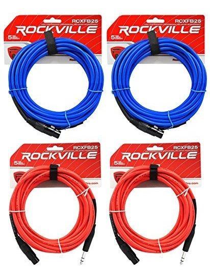 3 Rockville 25/' Female Rean XLR to 1//4/'/' TRS Cables 3 Colors