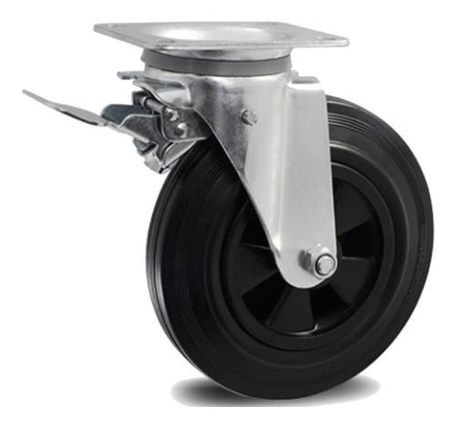 4 roda 8x2 borracha macia e silenciosa 2 c/ freio+2 s/freio