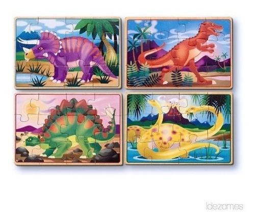 4 rompecabezas de dinosaurio puzzle de madera juego juguete
