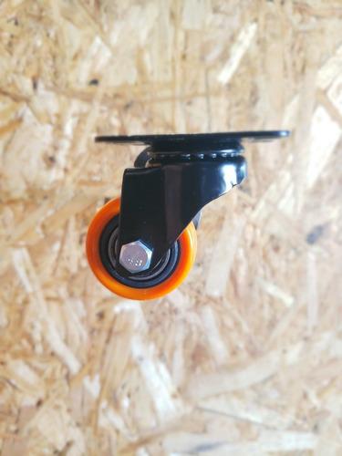 4 ruedas (2 giratorias y 2 fijas) poliuretano diametro 40 mm