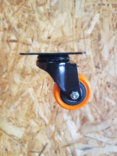 4 ruedas (2 giratorias y 2 fijas) poliuretano diametro 50 mm