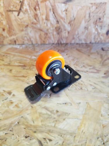 4 ruedas giratorias (dos c/freno) poliuretano diametro 50 mm