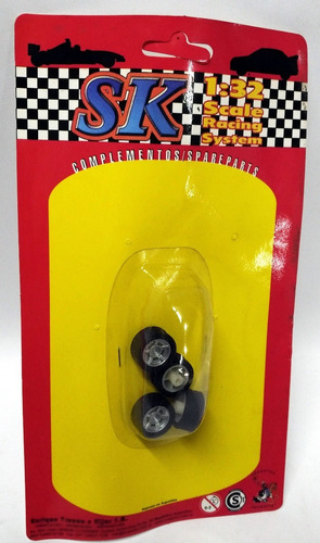 4 ruedas para autos tc tipo scalextric 1/32 marca sk 97028