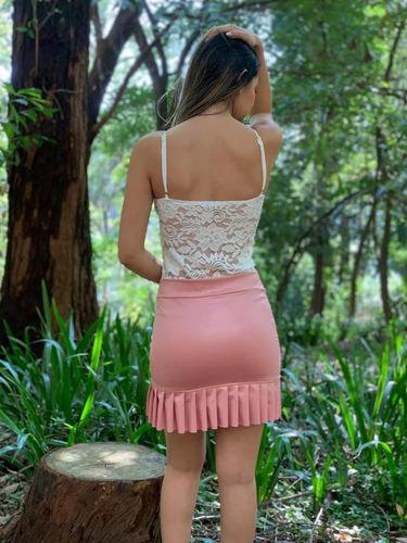 4 saia cirre curta cirret couro fake babado moda feminina