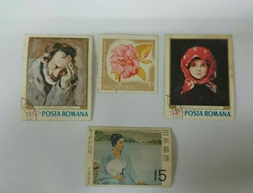 4 selos raros italianos e japonês