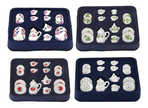 4 set casa de muñecas en miniatura taza de té porcelana