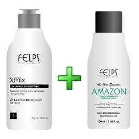 4 Shampoo Alisante Felps Amazon 100ml + 1 Antirresiduo 300ml